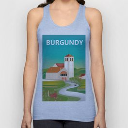 Burgundy, France - Skyline Illustration by Loose Petals Unisex Tank Top