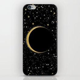 Black & Gold Magic Moon iPhone Skin