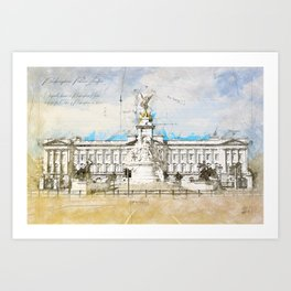Buckingham Palace, London England Art Print