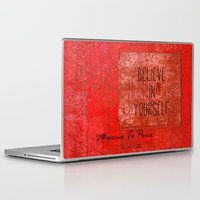 maori Laptop & iPad Skins featuring Believe in Yourself - Maruia Te Pono - Maori wisdom quote in red by Tiki Kiwi