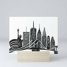 Linocut New York Mini Art Print