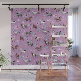 Purple Horse and Flower Print, Hand Drawn, Horse Illustration, Little Girls Decor Wall Mural