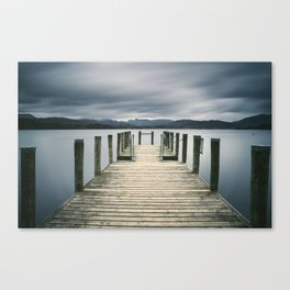 Jetty on Lake Windermere with Langdale Pikes beyond. Brockhole, Lake District, UK. Canvas Print
