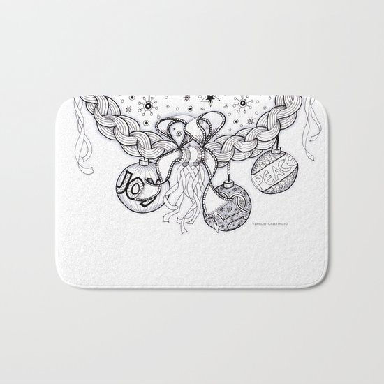 Christmas Zentangle Swag in Black and White for Adult Colorists Bath Mat