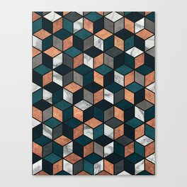 Copper, Marble and Concrete Cubes with Blue Canvas Print