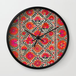 Kermina Suzani Uzbekistan Colorful Embroidery Print Wall Clock