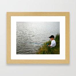 Boy fishing - M Framed Art Print