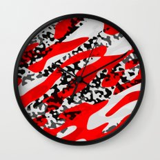 red and Black Camo abstract Wall Clock