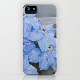 Blue Clematis Flowers on Knotted Fence Post iPhone Case