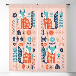 Soft And Sweet Scandinavian Fox Folk Art Blackout Curtain