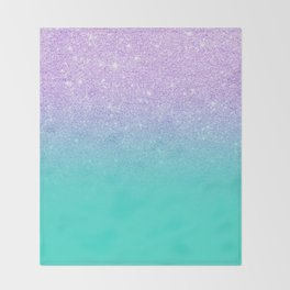 Modern mermaid lavender glitter turquoise ombre pattern Throw Blanket