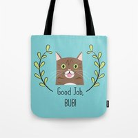 lil bub Tote Bags featuring Lil Bub by Madeline Audrey