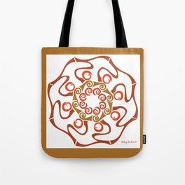 Hope Flower Mandala - Brown White Framed Tote Bag
