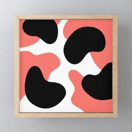 Abstract Blobs (Pantone Living Coral and Black) Framed Mini Art Print