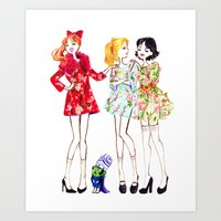 powerpuff girls Art Prints featuring Powerpuff girls getting classy by Maëlle Rajoelisolo