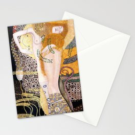 The Mermaids, Water Serpents floral maritime painting by Gustav Klimt Stationery Cards