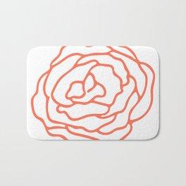 Rose Deep Coral on White Bath Mat