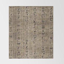 Egyptian hieroglyphs on wooden texture Throw Blanket