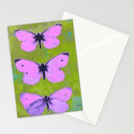 Pink butterfly vintage book plate style Stationery Cards