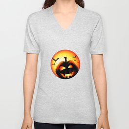 Smile Of Scary Pumpkin Unisex V-Neck