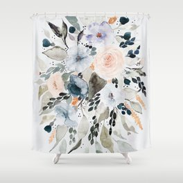 Loose Blue and Peach Floral Watercolor Bouquet  Shower Curtain