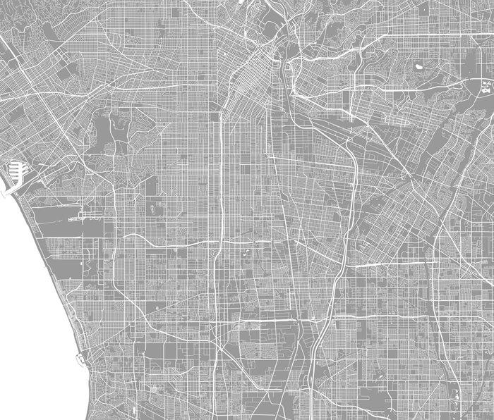 Los Angeles map grey Travel Mug