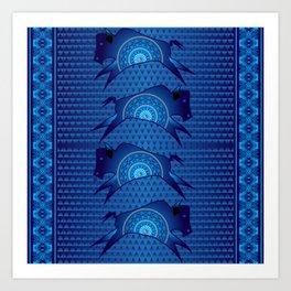 Buffalo Running (Blue) Art Print