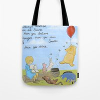 winnie the pooh Tote Bags featuring Winnie the Pooh by Marilyn Rose Ortega