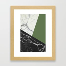 Black and White Marble with Pantone Kale Framed Art Print