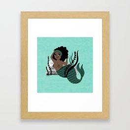 Black and Beautiful Mermaid Framed Art Print