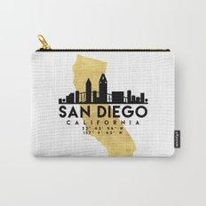 SAN DIEGO CALIFORNIA SILHOUETTE SKYLINE MAP ART Carry-All Pouch