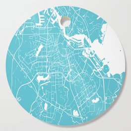 Amsterdam Turquoise on White Street Map Cutting Board