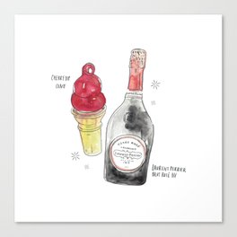 Cherry Dipped Cone + Laurent Perrier Canvas Print