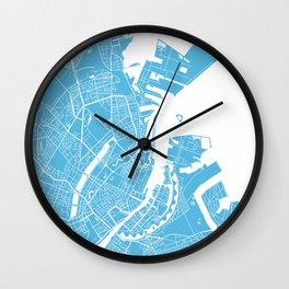 Copenhagen map blue Wall Clock