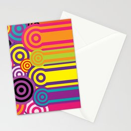 Retro Circles Background Pattern Stationery Cards