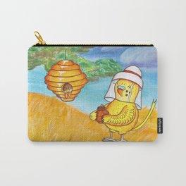 Budgie Parakeet Beekeeper - Mixed Media Art Carry-All Pouch