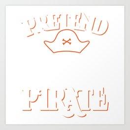 "Boney Ship Wreck Skull ""Pretend I'm A Pirate"" T-shirt Design Spooky Creepy Halloween Scary Ghost Art Print"