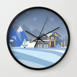 Winter Snowy Landscape with houses, trees and mountains. Suburban Buildings in Winter Landscape Wall Clock