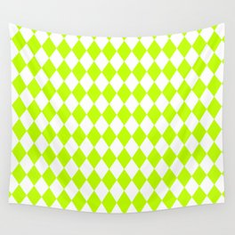 Diamonds (Lime/White) Wall Tapestry