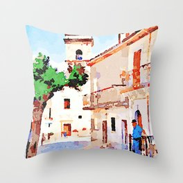 Borrello: man tree and bell tower Throw Pillow