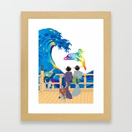 Hokusai People seeing Big Wave & the Angel riding a dolphin Framed Art Print