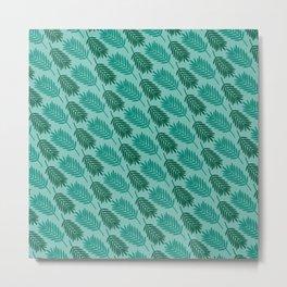 Tropical Nature Green Leaves Pattern Art Design Metal Print