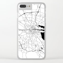 White on Black Dublin Street Map Clear iPhone Case