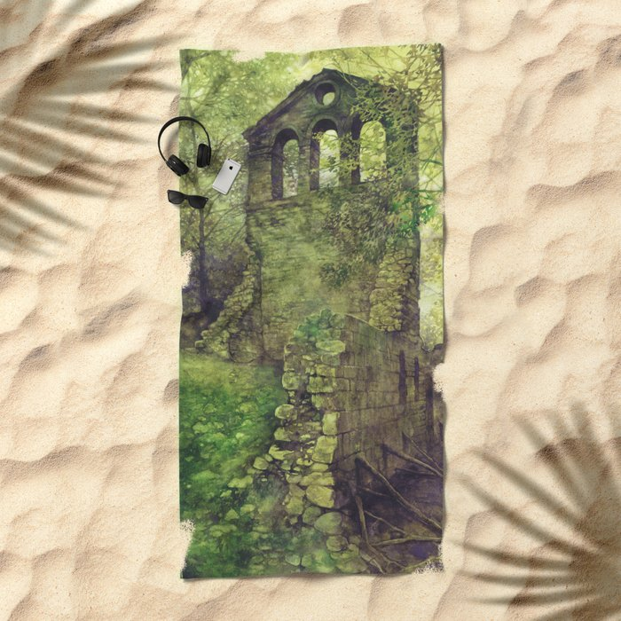 Ruins in the forest Beach Towel