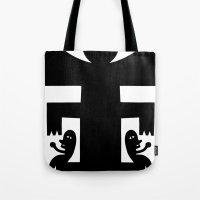 cyclops Tote Bags featuring Cyclops by Jad Fair