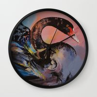black swan Wall Clocks featuring Black Swan by Michael Creese