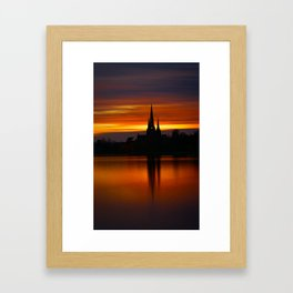 Fiery Sunset Reflection At The The Lichfield Cathedral Framed Art Print