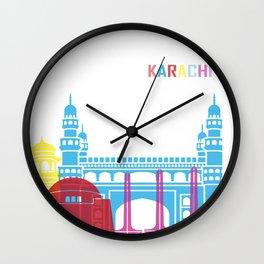 Karachi skyline pop Wall Clock