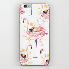 Flamingo and Pug Watercolor iPhone Skin