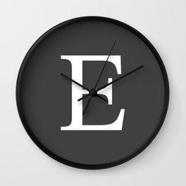 Very Dark Gray Basic Monogram E Wall Clock